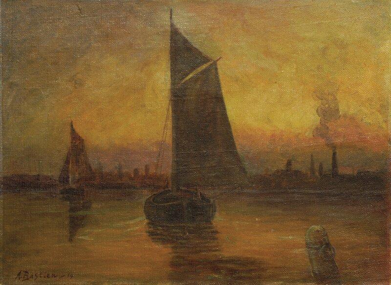 Havneparti med seilbåter 1919
