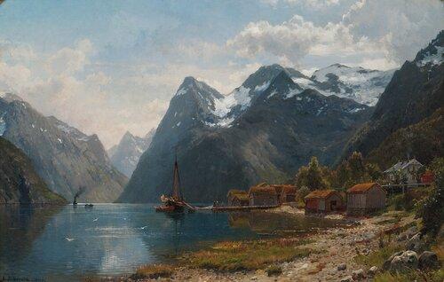 Fjordlandskap med folkeliv, dampbåten kommer 1890