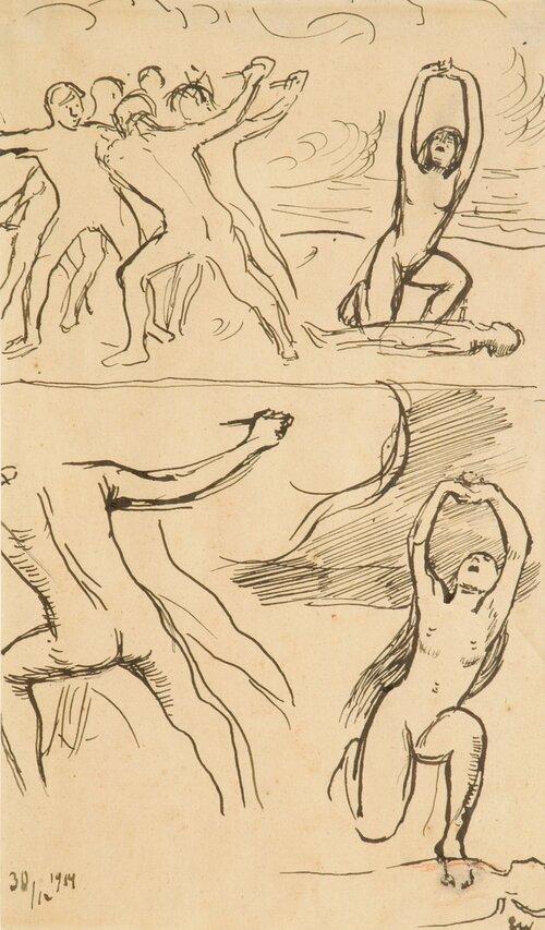 Studier av sørgende kvinne 1914