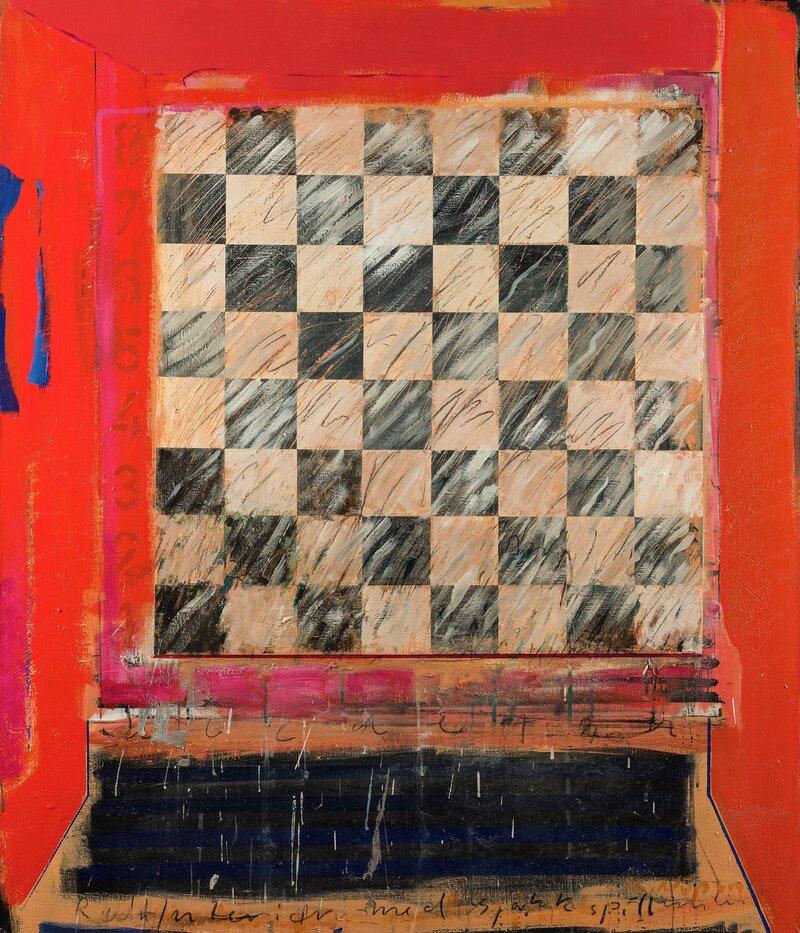 Rødt interiør med sjakkspill