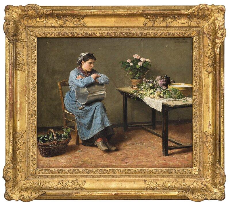 Kvinne i interiør 1881