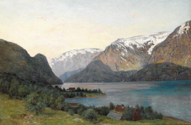 Utsikt fra Lofthus i Hardanger mot Folgefonnen
