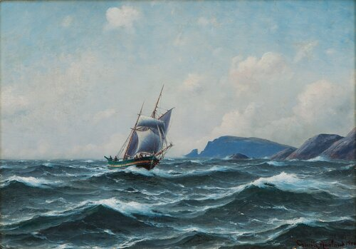 Seilskute i kystlandskap 1900