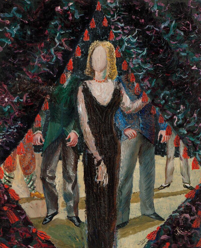 Kvinne ved portiere 1931