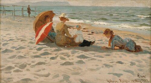 Badegjester på stranden, Rügen 1882