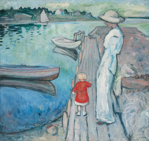Woman and Child on a Pier