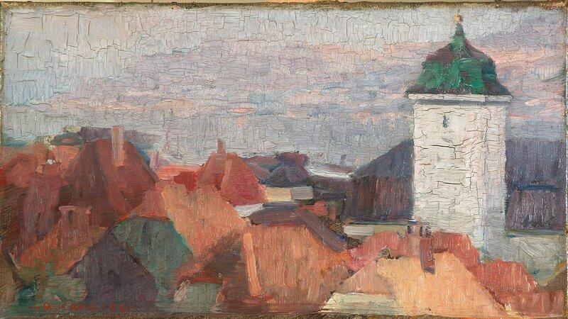 Nykirkens tårn og hustak, Bergen 1906
