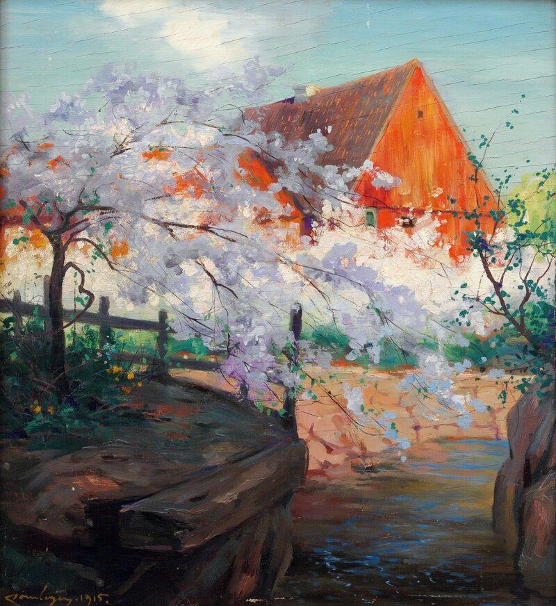 Frukttre i blomst 1915