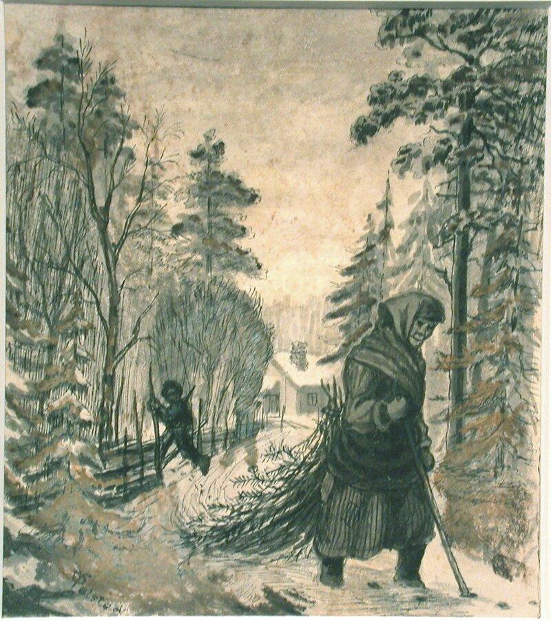 Kone og mann på sti