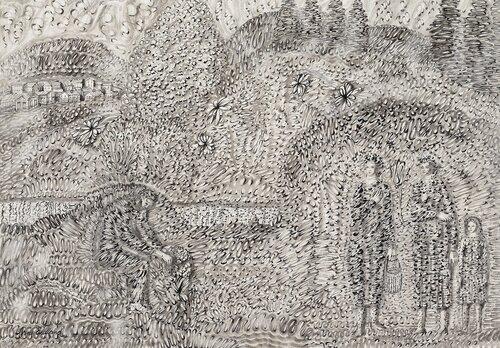 Åkerlandskap med figurer, elv og landsby
