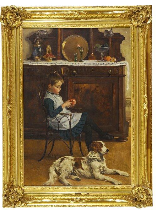 Interiør med barn og hund