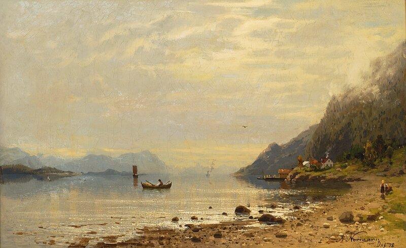 Fjordlandskap med folkeliv 1878