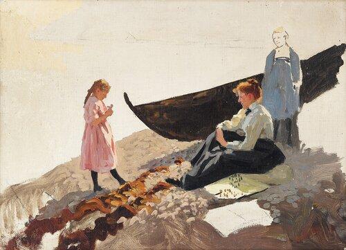 Studie av kvinner og barn på strand