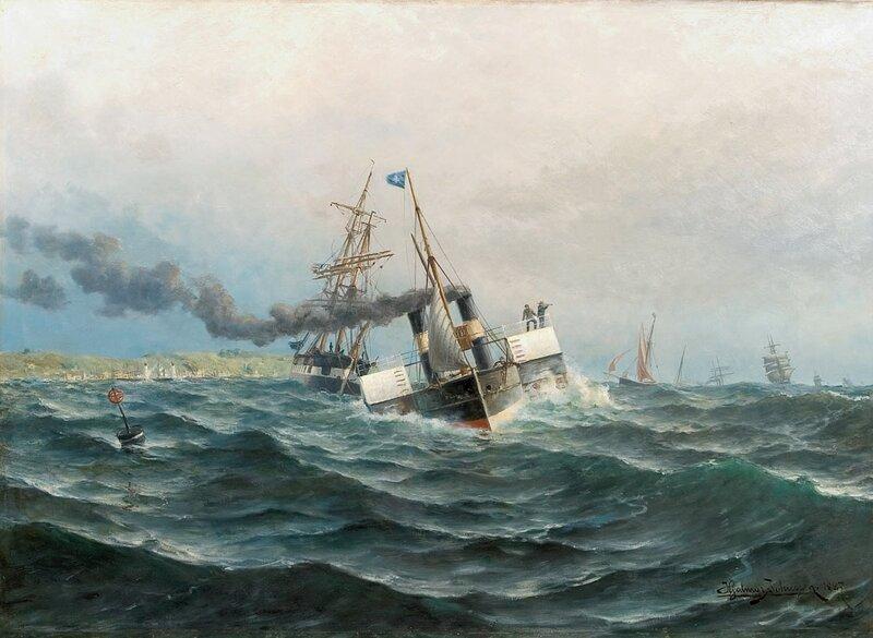 Hjuldamper og seilskute 1887
