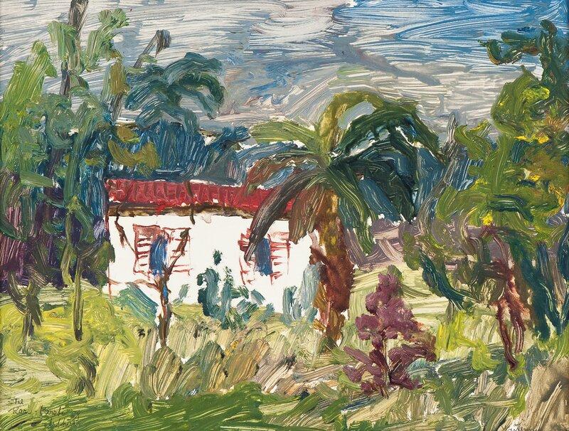 Sydlandsk landskap med hus