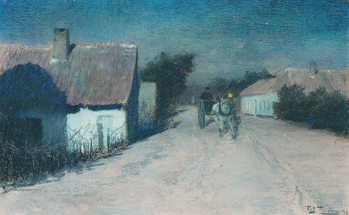 Fransk landsbygate i måneskinn 1893