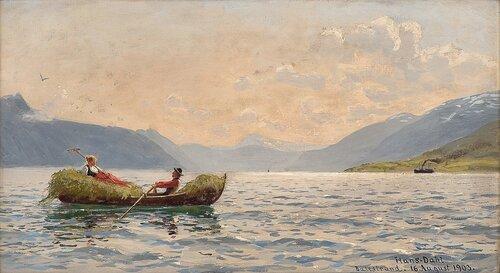 """Sognefjorden sett innover fra """"Askelund"""" 1903"""