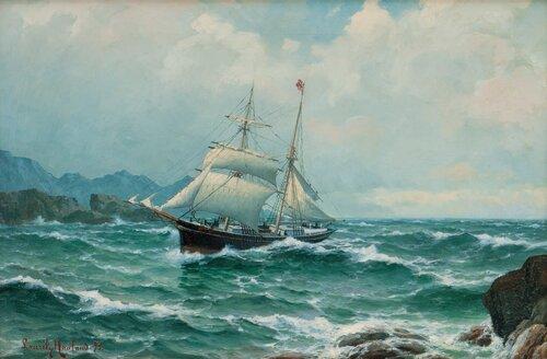 Seilskute i opprørt sjø mellom klipper 1893