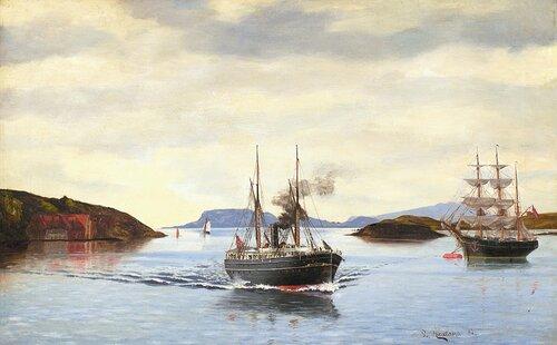 Dampskipet Kong H og seilskute i kystlandskap 1882