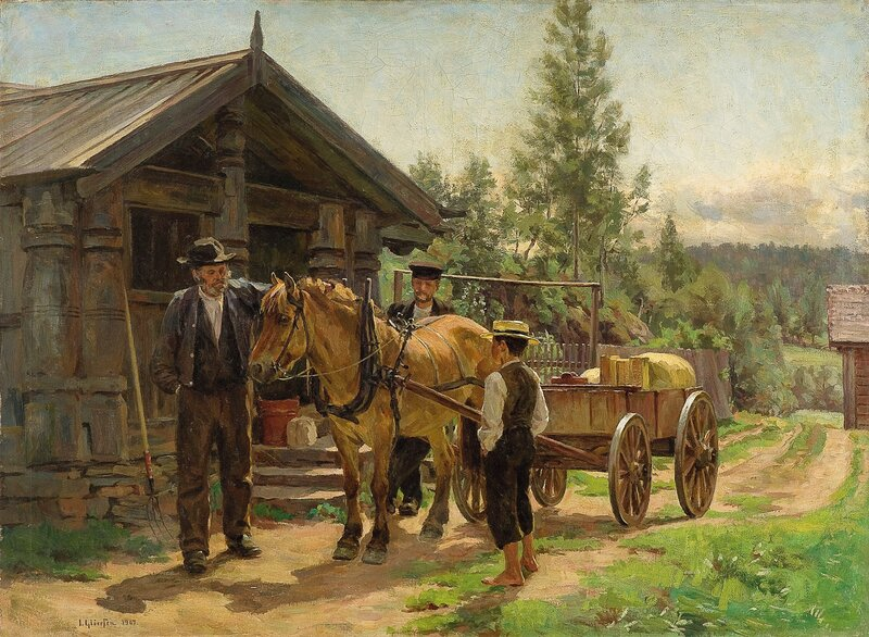 To menn og en gutt ved hest og kjerre 1907