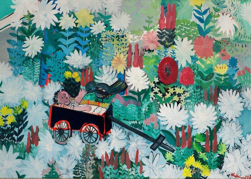 Vogn, dukke og fugl i blomstereng 1955