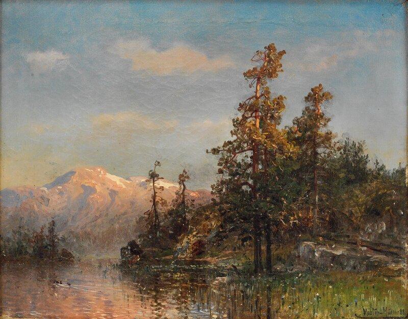 Skogslandskap med innsjø 1888