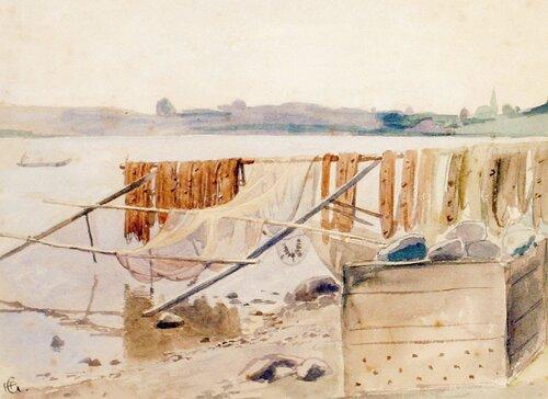 Strandparti med fiskegarn