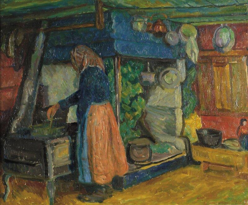 Kjerring som koker graut Gausdal 1912