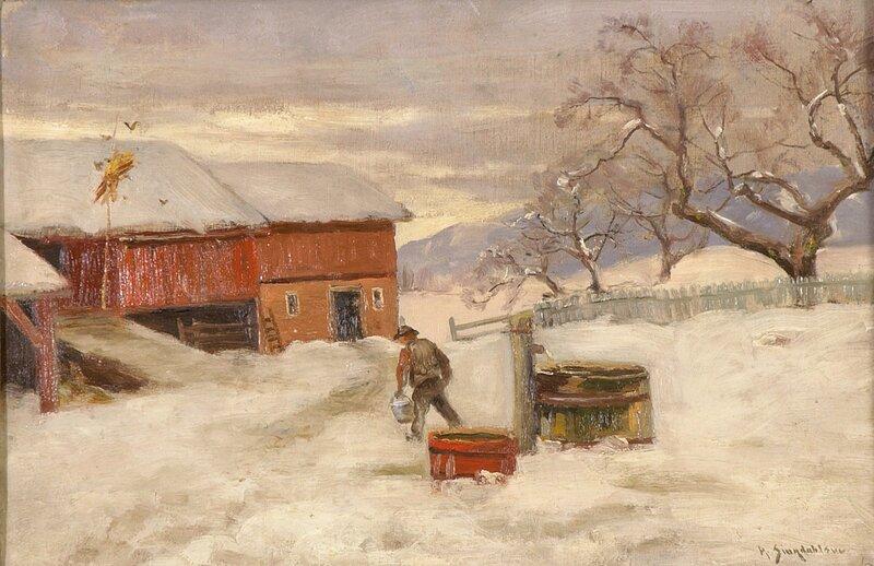 Mann på gårdstun, vinter 1890