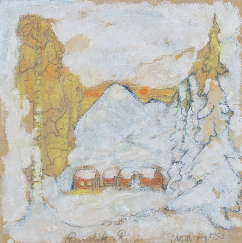 Vinterlandskap med hus 1950