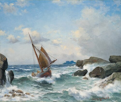 Sailing boat in a narrow strait