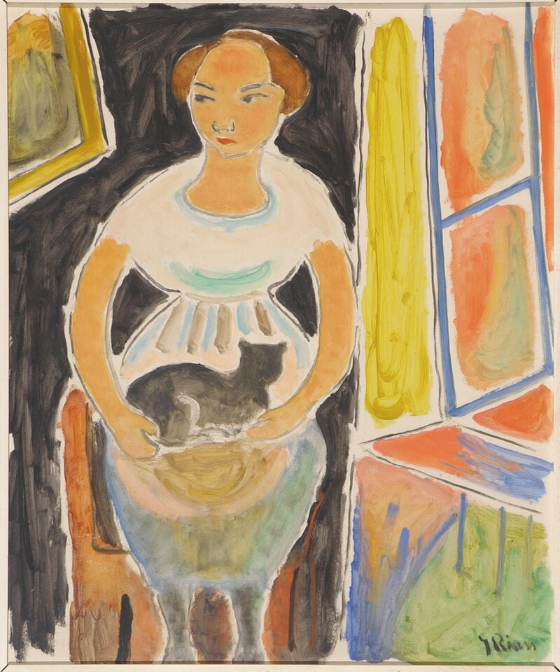 Kvinne med katt
