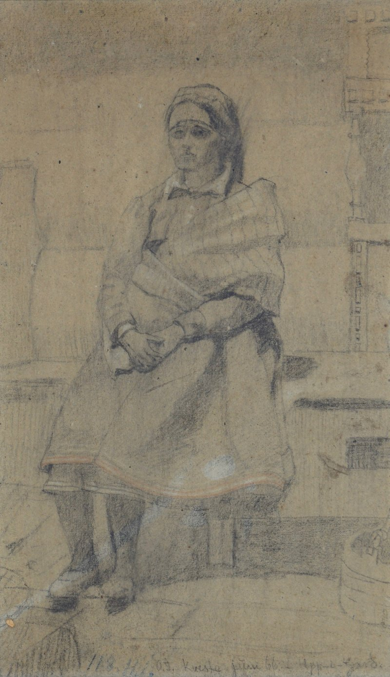Sittende kvinne med folkedrakt 1909