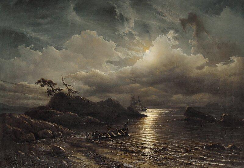 Norsk strandparti i måneskinn 1851