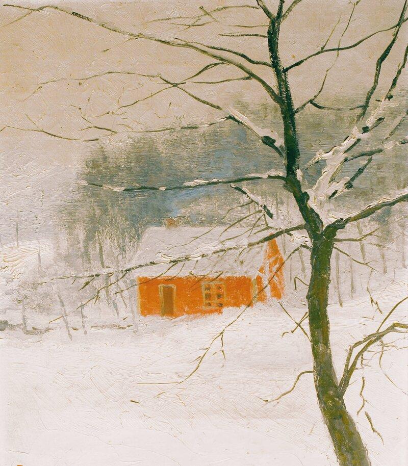 Hus i vinterlandskap 1891