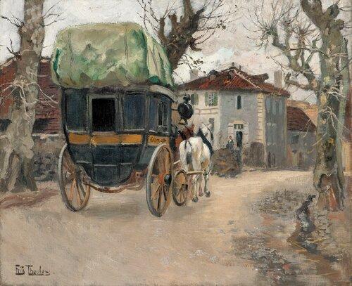 To hester og vogn i landsbygate