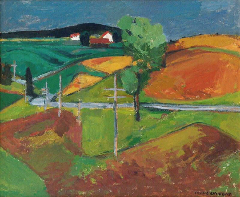 Landskap med hvite hus 1943