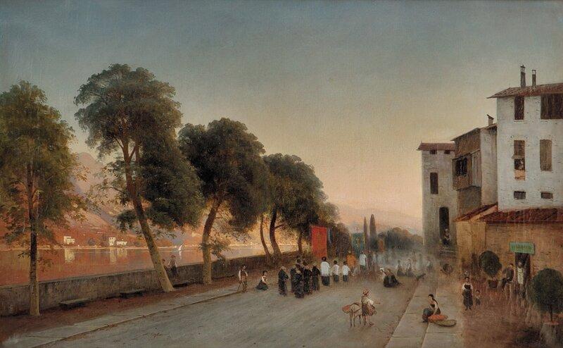 Katolsk prosesjon i landsby 1875