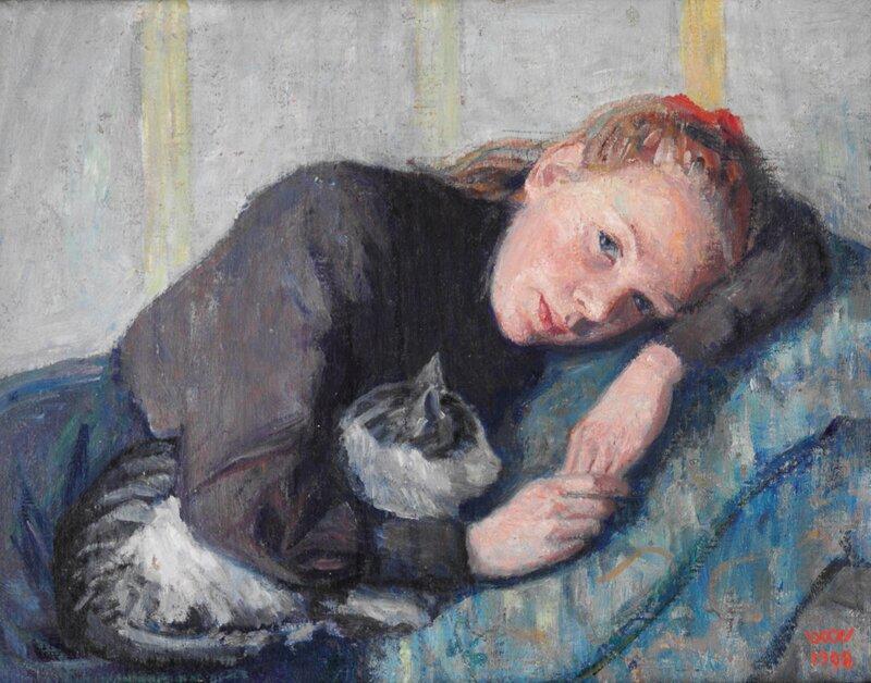 Ung kvinne med katt 1908