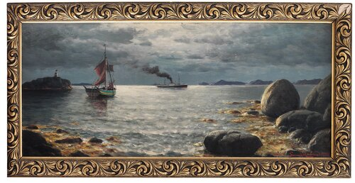 Seilskute og dampbåt i kystlandskap 1928