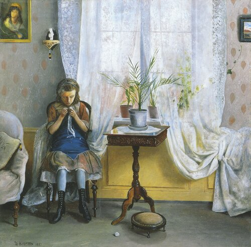 Interior with a Girl crocheting 1883