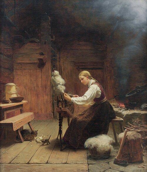 Interiør, kvinne ved rokk 1868