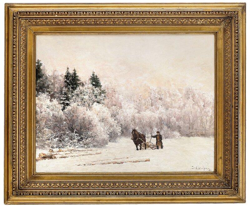 Tømmerkjøring i vinterlandskap 1884