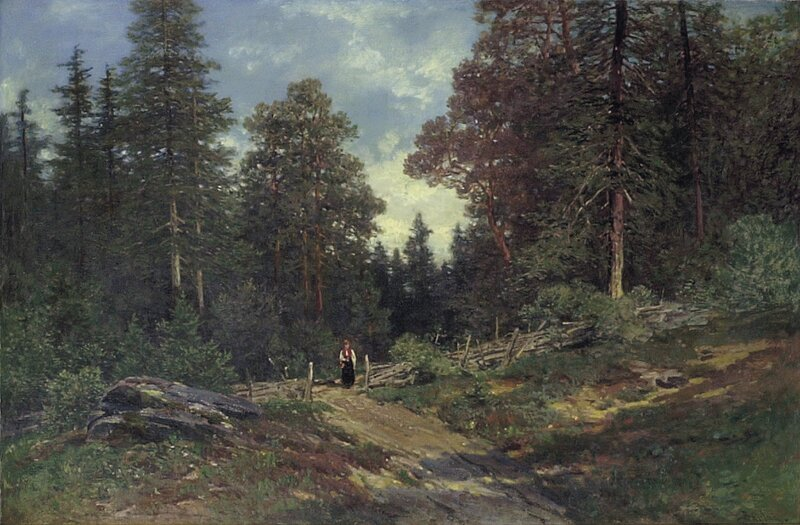 Bunadkledd kvinne i skogslandskap