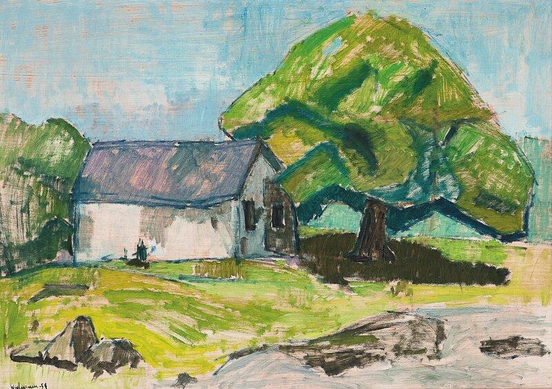 Lite hus og stort løvtre 1954