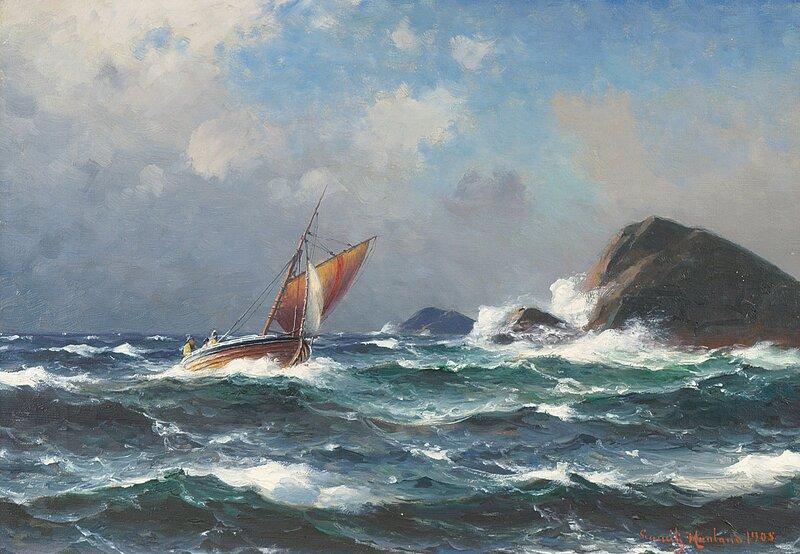 Losskøyte ved forreven kyst 1905