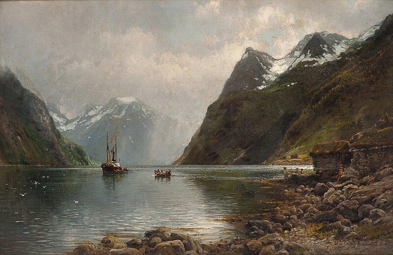 Fjordlandskap med folkeliv 1891