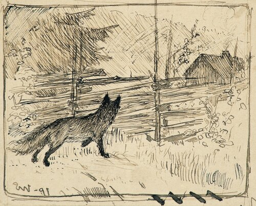 Fox by a wooden fence 1891