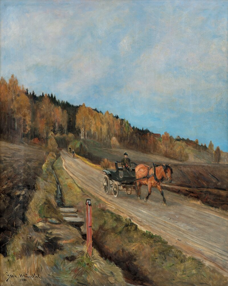 On the road with horse and carriage 1888