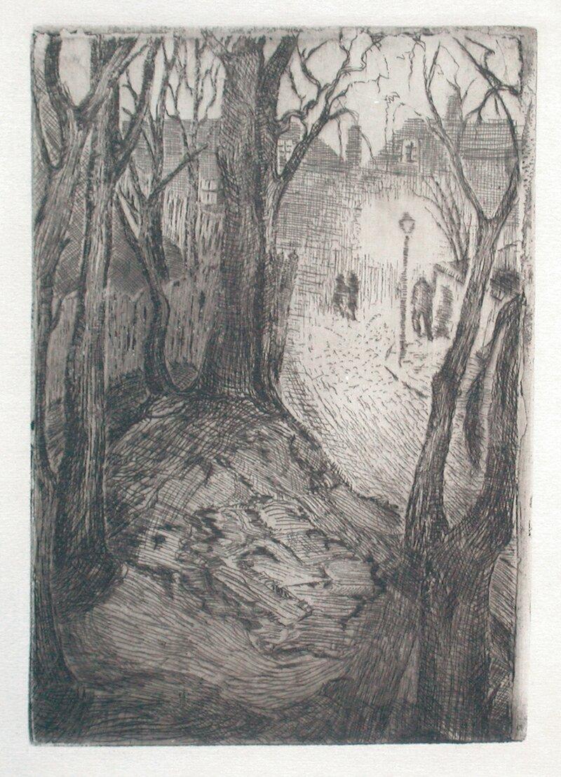 Gateparti med lykt og trær 1927